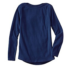Lands' End - Blue women's everyday fleece 100 boatneck jumper
