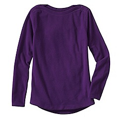 Lands' End - Purple women's everyday fleece 100 boatneck jumper