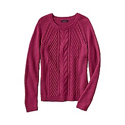 Lands' End - Pink women's lofty cable crew neck jumper