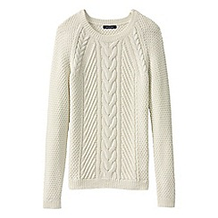 Lands' End - White women's lofty cable crew neck jumper