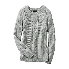 Lands' End - Grey women's lofty cable crew neck jumper
