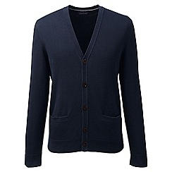 Lands' End - Blue regular fine gauge v-neck cardigan