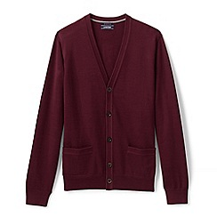Lands' End - Red regular fine gauge v-neck cardigan