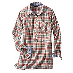 Lands' End - Orange women's flannel chambray trim tunic