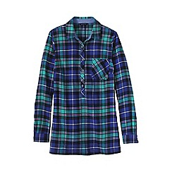 Lands' End - Green women's flannel chambray trim tunic