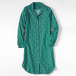 Lands' End - Green petite flannel patterned nightdress
