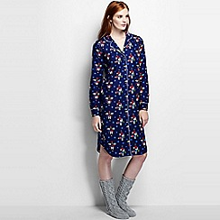 Lands' End - Blue petite flannel patterned nightdress