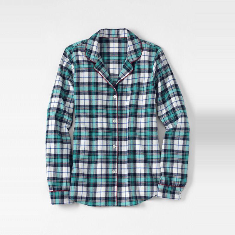 Lands End White petite patterned flannel pyjama shirt