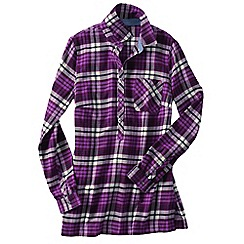 Lands' End - Purple women's flannel chambray trim tunic