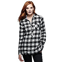 Lands' End - Black women's flannel chambray trim tunic