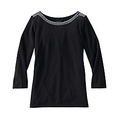 Lands' End - Black women's 3-quarter sleeve ponte trim top