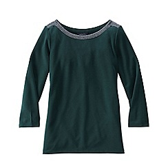 Lands' End - Green 3-quarter sleeve ponte trim top