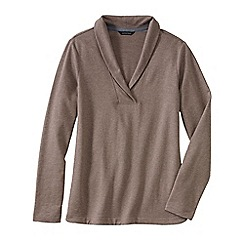 Lands' End - Beige terry shawl collar jumper