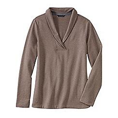 Lands' End - Beige women's terry shawl collar jumper