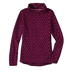 Lands' End - Red women's petite thermacheck 100 print fleece roll neck