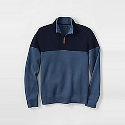 Lands' End - Blue men's colourblock brushed rib pullover
