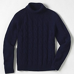 Lands' End - Blue men's wool/alpaca roll neck sweater
