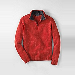 Lands' End - Orange men's half-zip donegal sweater