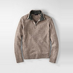 Lands' End - Beige men's half-zip donegal sweater