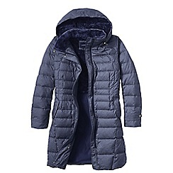 Lands' End - Blue women's heathered fleece-lined down coat