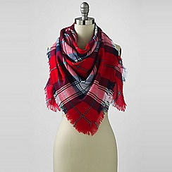 Lands' End - Red oversized plaid square scarf