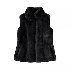 Lands' End - Black faux fur gilet