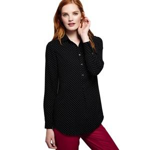 Lands' End Black dressy patterned tunic