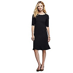 Lands' End - Black women's ponte jersey fluted hem dress