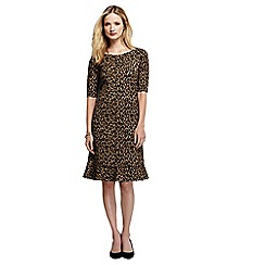 Lands' End - Brown women's print ponte jersey fluted hem dress