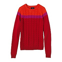 Lands' End - Red drifter; cable colourblock crew neck