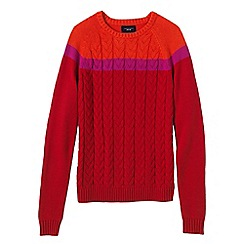 Lands' End - Red petite drifter cable colourblock crew neck