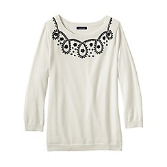 Lands' End - Cream women's supima soutache crew neck