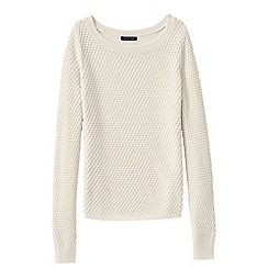 Lands' End - White petite lofty boat neck jumper