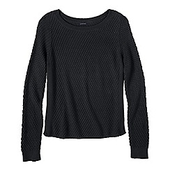 Lands' End - Black petite lofty boat neck jumper