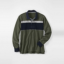 Lands' End - Green men's chest stripe rugby shirt