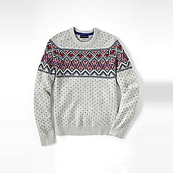 Lands' End - Cream men's fair isle lambswool sweater
