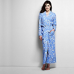 Lands' End - Blue regular cotton sleep-t patterned dressing gown