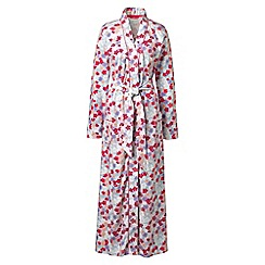 Lands' End - White cotton sleep-t patterned dressing gown
