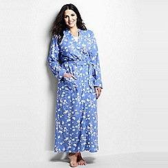 Lands' End - Blue women's cotton sleep-t patterned dressing gown