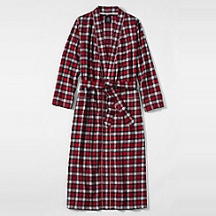 Lands' End - Red plus patterned flannel dressing gown