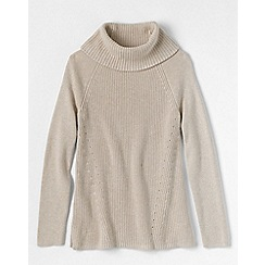 Lands' End - Beige women's cotton shaker cowl neck