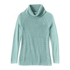 Lands' End - Blue women's cotton shaker cowl neck