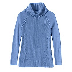 Lands' End - Blue women's cotton shaker cowl neck