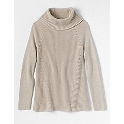 Lands' End - Beige petite cotton shaker cowl neck