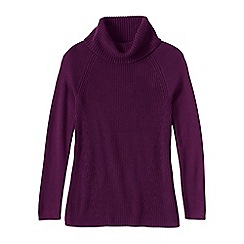Lands' End - Red women's cotton shaker cowl neck