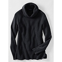 Lands' End - Black cotton shaker cowl neck