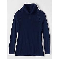 Lands' End - Blue petite cotton shaker cowl neck