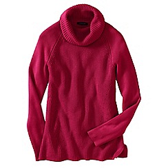 Lands' End - Pink petite cotton shaker cowl neck