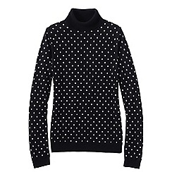 Lands' End - Black supima bubble jacquard polo neck