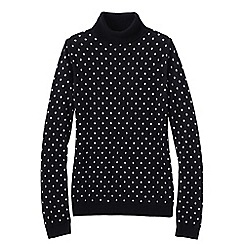 Lands' End - Black petite supima bubble jacquard polo neck